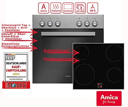 Amica EHC 933 021 E Einbauherd-Set mit Glaskeramik-Kochfeld, SCHOTT CERAN® - Edelstahl