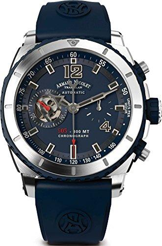 Armand Nicolet A714AGU-BU-GG4710U - Orologio da polso da uomo, cinturino in caucciù colore blu