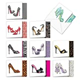 The Best Card Company - 10 All Occasion Blank Note Cards for Women (4 x 5.12 Inch) - Fashion Greeting Cards Boxed - Gotta Lotta Sole MQ5042OCB-B1x10