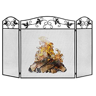 Best Choice Products 50x29in 3-Panel Handcrafted Wrought Iron Mesh Fireplace Screen, Fire Spark Guard w/Folding Panels, Decorative Leaf Scroll Design from Best Choice Products