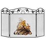 Best Choice Products 50x29in 3-Panel Handcrafted Wrought Iron Mesh Fireplace Screen, Fire Spark Guard w/Folding Panels, Decorative Leaf Scroll Design
