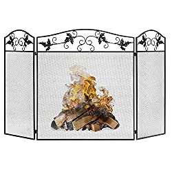 top 10 fire screen material Best Choice Products 50x29in3 Panel Handmade Forged Mesh Fireplace Screen, Fire Spark…