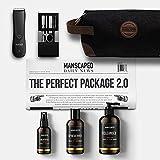 Kit de afeitado para hombre de MANSCAPED Perfect Package 2.0, afeitadora eléctrica para genitales Lawn Mower 2.0, desodorante, gel de baño, tónico corporal, set de manicura, neceser y esterillas