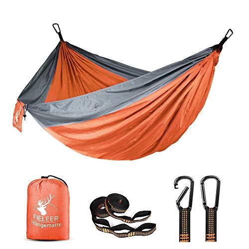 Fieleer Ultraleicht Reisehängematte Camping Outdoor Hammock | Mit Premium Karabinern & 2,5cm Breiten Schwerlastgurten mit 6 Schlingen | 275x140cm, 300kg Traglast, Aus Fallschirm Nylon | Für Trekking