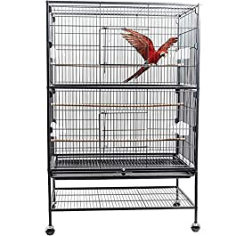 D4P Display4top Black Large Wrought Iron Breeding Bird Cage Flight Cage for Cockatoo,Parrot, Canary With Perch Stand and Wheels,131 x 52 x 79cm