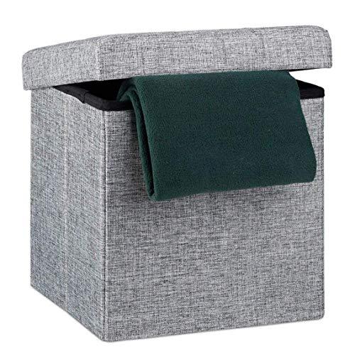 XBCDX Cajas de Almacenamiento otomanas, Taburete otomano Plegable para reposapiés, Cofre de Almacenamiento, reposapiés en Forma de Cubo - Decoración de Muebles de Dormitorio y Sala de Estar de Lin