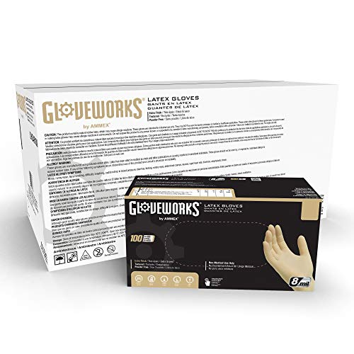 GLOVEWORKS HD Industrial Ivory Latex Gloves, Case of 1000, 8 Mil, Size Medium, Powder Free, Textured, Disposable, ILHD44100