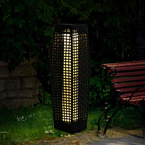 Weatherproof Sorrento Rattan Solar Powered 25 LED Garden Floor Lamp 69cm Solar Garden Lamp Grey