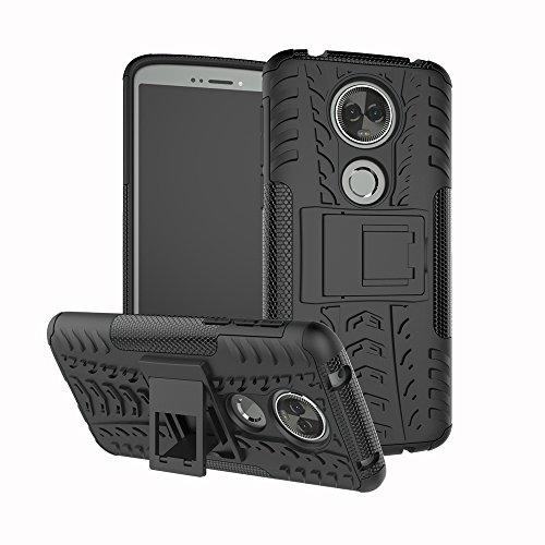 TiHen Handyhülle für Motorola Moto E5 Plus Hülle, 360 Grad Ganzkörper Schutzhülle + Panzerglas Schutzfolie 2 Stück Stoßfest zhülle Handys Tasche Bumper Hülle Cover Skin mit Ständer -Schwarz