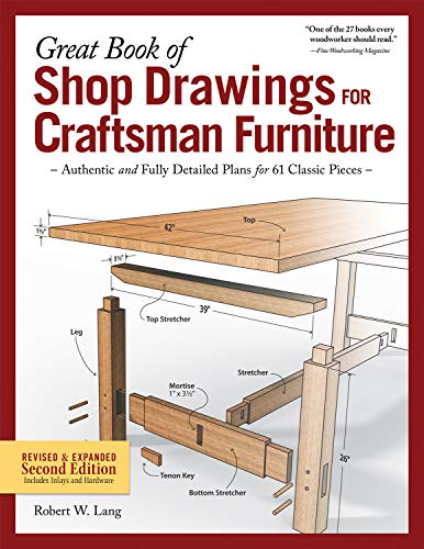 Great Book of Shop Drawings for Craftsman Furniture, Revised & Expanded Second Edition: Authentic and Fully Detailed Plans for 61 Classic Pieces (English Edition)