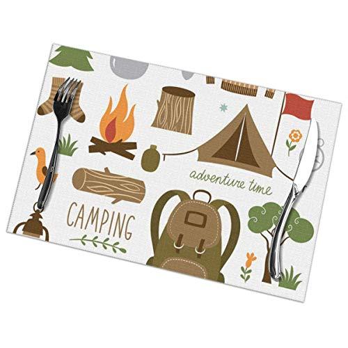 Strawberryran Tapis de Table Aventure Équipement de Camping Sac de Couchage Bottes Feu de Camp Pelle Hachette Journal Oeuvre d'art Imprimer 12 X 18 en Ensemble de 4