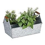 Relaxdays Jardinera Metal 6 Compartimentos con Asas, Hierro Galvanizado, Plateado, 19 x 36 x 20 cm
