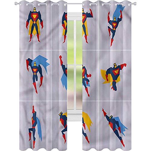 Cortinas opacas para oscurecer la habitación, superhéroe con músculos de la Tierra, 42 x 72, cortinas opacas para sala de estar