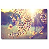 SQSHBBC Sakura Flowers Art Painting Japan Style HD Art Prints Beautiful Sping Scenery Landscape Canvas Painting For Living Room Decor A 70x100cm sin Marco