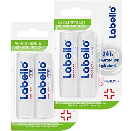 NIVEA Labello Protect + (4 x 5,5 ml), Baume à lèvres enrichi en huiles naturelles et protection solaire FPS 15, Soin des lèvres Hydratation longue durée pendant 24H