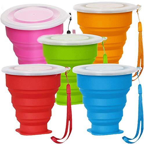 Dcolor Paquet DE 5 Tasses a Boire Pliables en Silicone Lot DE 5 Tasses de Extensibles Pliables Tasse de avec Couvercle pour Le de Randonnee Camping