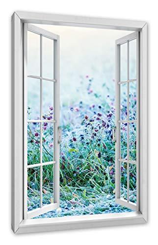 Pixxprint weide met paarse bloemen, ramen canvasfoto | muurschildering | kunstdruk hedendaags 100x70 cm
