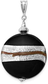 925 Sterling Silver Murano Glass Striped Pendant Charm Necklace Fine Jewelry Gifts For Women For Her