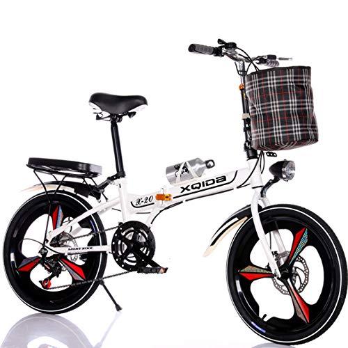 RDMSLKQ 20 Zoll Licht Aluminium-Faltrad-Klapprad Faltfahrrad-Herren-Damen 6 Gang Klappräder Cityrad Schnellklappsystem (Weiß)