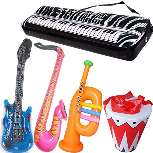Inflatable Rock Star Toy Set - 5 Pack Inflatable Inflatable Instrument Toys for Rock and Roll Party Supplies - Guitar, Trumpet, Saxophone, Keyboard Piano,Drum 5 Piece