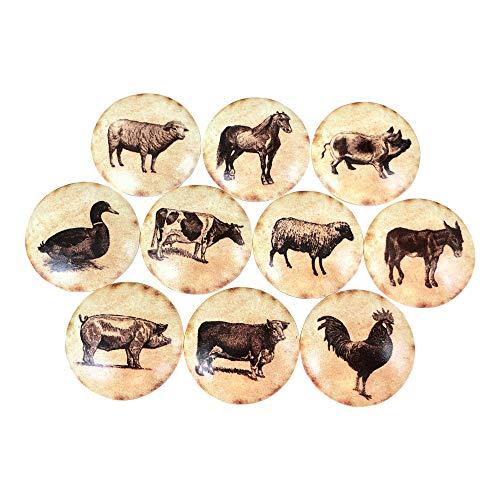 Set of 10 Vintage Farm Animals Print Wood Cabinet Knobs
