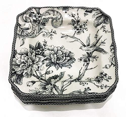 222 Fifth Adelaide Gray Toile Pattern Square Salad/Luncheon Plates | Set of 4 | 8.25' x 8.25'