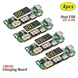 MakerFocus 4pcs 186 50 Charging Board Dual USB 5V 2.4A Mobile Power Bank Module 186 50 Lithium Battery Charger Board with Overcharge Overdischarge Short Circuit Protection DIY USB Power Bank Board