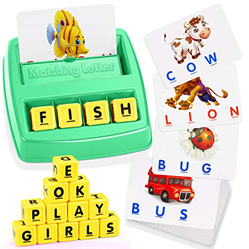 ATOPDREAM TOPTOY Matching Letter Game for Kids - Great Gifts Educational Toys Stocking Stuffer Stocking Fillers Christmas Xmas Gifts Present(Green)