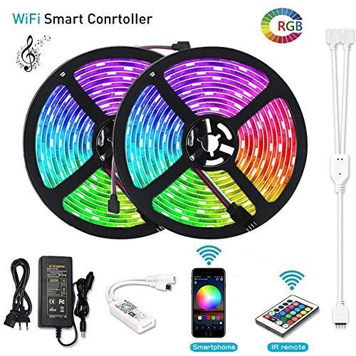 10M LED Tiras de Wifi, lunsy 216.4ft 5050LED luz kit de rayas, con 150perlas, Wireless IR Controlador, Android IOS Smartphone, Amazon Alexa gesteuert