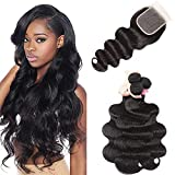 UNice Hair Malaysian Body Wave Hair 3 Bundles with Free Part 4x4 Lace Closure, 100% Unprocessed Virgin Human Hair Weave Extensions Natural Color(10 12 14+10 Closure)