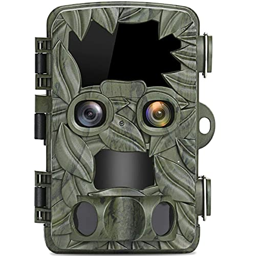 4k Inducción Inducción Cámara de cámara de infrarrojos Cámara de seguimiento Dual lente, cámara de caza de 20MP Visión nocturna de hasta 25 m, Cámara de caza de velocidad de disparo de 0.1s, HD A prue