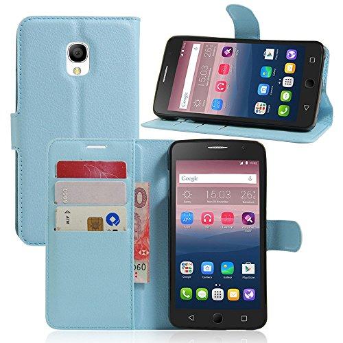 Ycloud Tasche für Alcatel OneTouch Pop Star 3G Hülle, PU Ledertasche Flip Cover Wallet Case Handyhülle mit Stand Function Credit Card Slots Bookstyle Purse Design blau