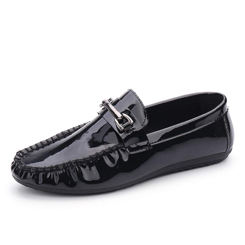 [dhiuebc] メンズ ブライトレザー ビジネス シューズ 紳士靴 ローファータイプ ベルトバックル 仕事 出張 デッキシューズ モカシン 靴 カジュアルシューズ フェイクレザー 耐摩耗性 通気性 柔軟性 歩きやすい 運転靴 ブルー