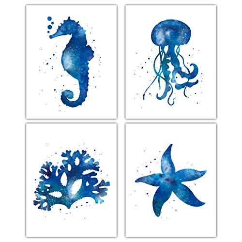 "HPNIUB Sealife Art Print,Sea Creatures Ocean Anima Wall Art,Set of 4 (8""X10"") Watercolor Coral Starfish Painting,Kids Underwater Canvas Poster for Bedroom,Bathroom,Nursery Decor,No Frame"