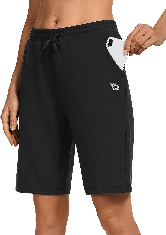 BALEAF Women's Bermuda Cotton Long Shorts with Pockets Knee Length Athletic Jersey Walking Lounge Shorts 2.0