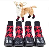 QBLEEV Dog Socks Boots, Pet Winter Hiking Boots, Waterproof Snow Paw Protectior for Small Medium Large Doggie, Warm Cotton Knitting, Anti-Slip Rubber Sole, High Tube