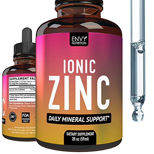 Ionic Zinc Liquid Supplement - Daily Mineral Support - Immunity Supplement - Boost Metabolism and Mood - 2oz (118 Servings)