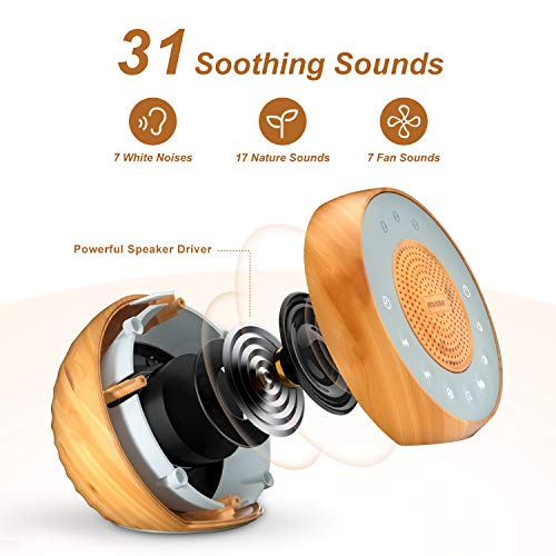Housbay White Noise Machine with 31 Soothing Sounds, 5W Loud Stereo Sound, Auto-Off Timer, Adjustable Volume, Sleep Sound Machine for Baby, Kid, Adult -Wood Grain