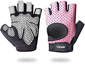 Viomir Workout Gloves for Men & Women, Padded Weight Lifting Gloves with Wrist Wrap Support, Anti-Slip Gym Gloves for Powerlifting, Fitness, Crossfit, Pull ups