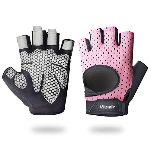 Viomir Workout Gloves for Men & Women, Lightweight Breathable Fingerless Weight Lifting Gloves, Padded Gym Gloves with Wrist Wrap Support for Weightlifting, Training, Fitness, Exercise, Pull ups