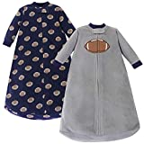 Hudson Baby Unisex Baby Long Sleeve Fleece Sleeping Bag, Football, 0-9 Months