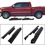 ECOTRIC Rocker Panel Cover Guard Sill Trim Compatible With 2009-2018 Dodge Ram Crew Cab - Matte Black Textured Finish