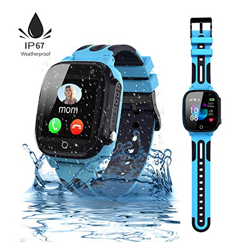 Jaybest Kinder Smartwatch,wasserdichte Smart Watch für Kinder,Smart Watch Phone mit LBS Tracker SOS Voice Chat Kamera Spiel für Jungen und Mädchen, Geburtstagsgeschenk (blau)