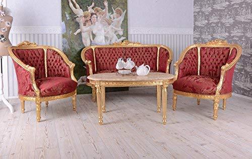 Barock Sofa Sitzgarnitur 2 1 1 Couchtisch Salon Sitzgruppe Set Möbel Wohnzimmer Palazzo Exklusiv...
