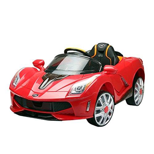 homcom Macchina Elettrica per Bambini 12V con Luci e Suoni velocità: 2.5-5 Km/h PP 130 × 71 × 52cm Rosso