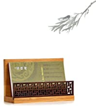 Szblaze Japanese Garden Style Wood Office Business Card Holder for Desk Organizers and Accessories