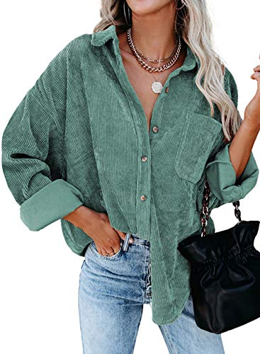 Astylish Womens Long Sleeve Button Up Pocket Shirts Ladies Loose Fit Corduroy Tunic Blouse Tops Green M