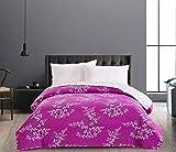 DecoKing 58503 Tagesdecke 200x 220 cm violett lila Creme Ecru Bettüberwurf zweiseitig leicht zu pflegen Blumen Blumenmuster Hypnosis Collection Calluna