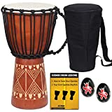 X8 Drums Djembe African Hand Drum, inch (X8-DJ-GRV-BKP)