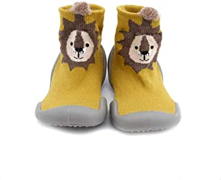 """Babies booties shoe with silicone sole size 22""""Lion"""" - yellow"""